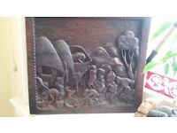 Carved dark wood picture panel-excellent condition.