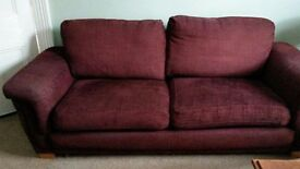 2 + 3 seater burgendy sofas