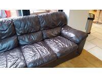 Dark brown leather sofa - 3 person
