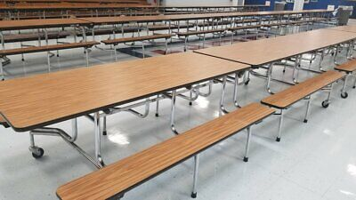 Cafeteria Lunch Table W Bench 12ft L- Oak Wood Grain- Adult Size