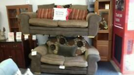 Brown fabric three seater sofa BRITISH HEART FOUNDATION