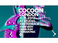 1 ticket for Cocoon on the Terrace with Sven Vath @ Studio 338 - Saturday 11th Nov