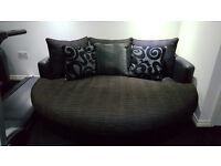 Black & Grey DFS Quantum Sofa and Cuddler
