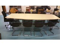 Light wood finish folding, mobile boardroom/conference/meeting/office table seats 10 £650