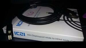 Mini DisplayPort Male to HDMI Male Cable - Black 3.3ft BRAND NEW (16)