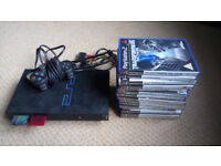 Playstation 2, 1 x Controller, 2 x Memory Cards and 14 x Games