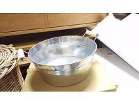 Squat Metal Bucket with Wooden Handles