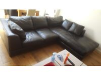 Genuine Italian Black Leather 3 Seater Sofa With Chaise Longue