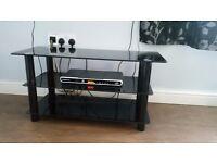 Black glass tv slimline tv stand