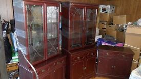 2x Glass Cabinet and 3x Drawer set