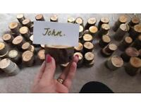 Wedding rustic name holder. Wooden slices