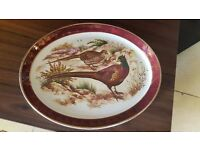Oval Decorative Plate of Two Pheasants