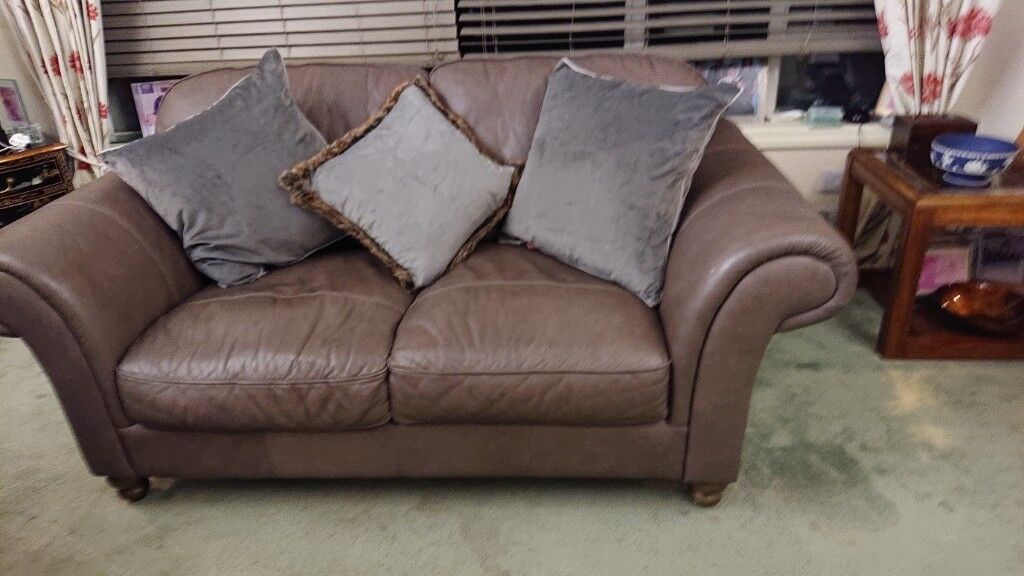 Two 2 Seater Brown Leather Bhs Sofas Large Armchair Footstool With Storage