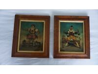 Vintage clown glass paintings gilt and maple frames, 12''x12'', originally from Portobello market.
