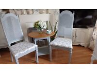 LOVELY VINTAGE FRENCH SHABBY CHIC TABLE & GREY RATTAN CHAIR SET FOR TWO ~ CAN SPLIT