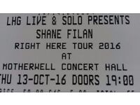 Shane Filan Concert - two 3rd row seats - Motherwell Concert Hall (Thursday, 13 Oct 2016)