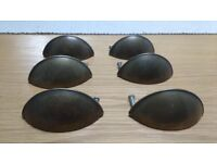 6 x shell cup style cupboard or drawer handles - dark bronze/gold ish colour