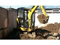 Operated Mini digger for hire in Argyll