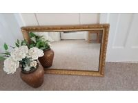 Ornate gold coloured rectangle mirror (87 x 62 cm)
