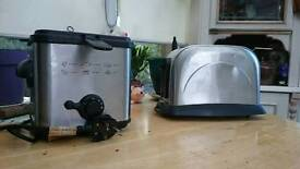 Stainless steel toaster and fat fryer combo