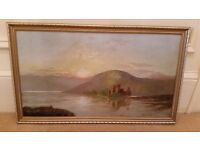 old scottish oil painting of a loch