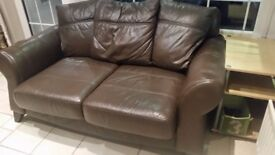 Brown leather large 2 seater sofa (x2) matching