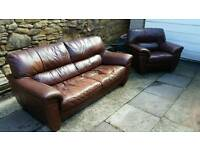 Brown leather sofa settee 3 seater and chair vintage rustic used condition