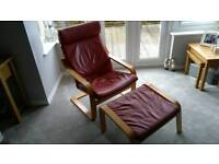 Red Leather Poang Chair & Stool