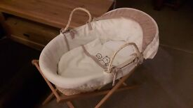 Moses basket, stand and mattress REDUCED