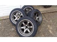 Rota Grid V /4x100PCD /15 x 8j/ ET0 + Tyres / New and unused wheels / MX5 fitment