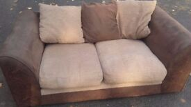 sofa 2 seater suede / leather brown