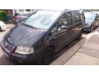 Black VW SHARAN 1.9 TDI S AUTO, 5 DOOR, 2008