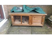 GUINEA PIG - RABBIT HUTCH WITH LIFT UP LID TWO FRONT OPENING DOORS WATERPROOF COVER 9 MONTHS OLD