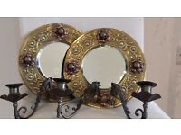 Wall Candle Sconces (pair)with mirrors- Lovely Antique Design