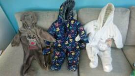 1 snowsuit 1 pramsuit and 1 Christmas reindeer outfit 6-9 months