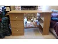 3 drawer desk with shelves, oak colour