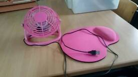 Pink mouse mat and usb mini fan