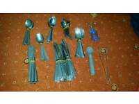 Sets of knives, forks and spoons, including household items