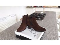 Ankle Boots. Brown Suede Leather Upper. size 6 as new!