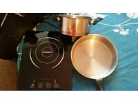 Silvercrest induction electric hob with 2 Russell hobbs pans