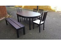 Ikea BJURSTA Round Extending Table 155/166cm 4 Chairs & 1 Bench FREE DELIVERY (03073)