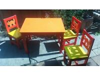 Children's wooden play table and three chairs - Hipperholme, Halifax