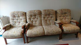 Sofa set : 2 Seater sofa & 2 single chairs in very good condition, available from end of April 2018