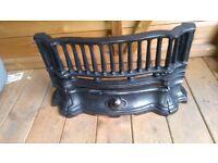 Ornate Cast iron Art Nouveau fire front with fire basket/grate