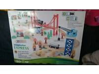80+ PIECE WOODEN TRAIN TRACK AND TRAINS