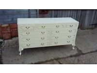 Vintage Painted Wide Chest of Drawers Sideboard Light Cream
