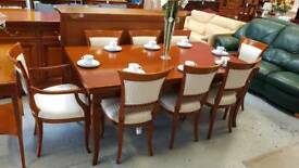 Selva Extending Dining Table and Eight Upholstered Chairs