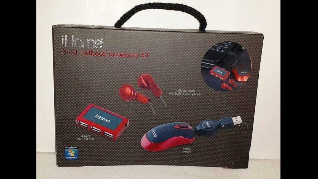 iHome 3-in-1 Netbook Netpack Red 4-port USB.