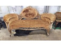 Antique Victorian walnut carved sofa
