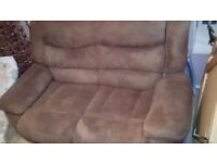 2seater recliner brown suede